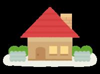 赤い屋根の家