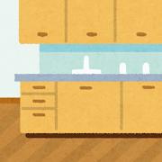 茶色いシステムキッチン