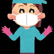 マスクと手袋をして掃除する女性