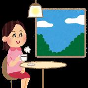 カフェにいる女性のイラスト