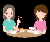 女性同士で会話しているイラスト