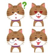 いろいろな表情の猫のイラスト