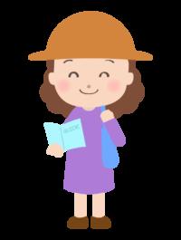 ガイドブックを持つ女性のイラスト