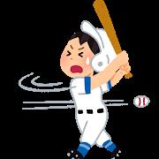 野球で空振りする人のイラスト