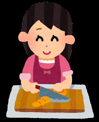 笑顔で料理する女性のイラスト