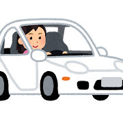 白い車を運転する女性のイラスト