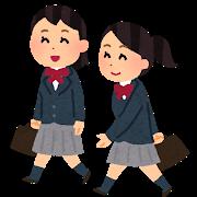 歩いて通学している女子学生のイラスト