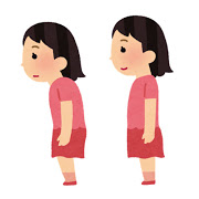 姿勢が悪い&良い女性のイラスト