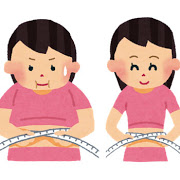 ウエストを測る女性のイラスト