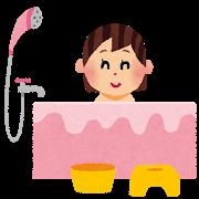 湯船に浸かる女性のイラスト