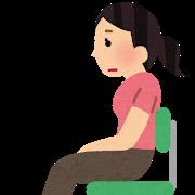 椅子に座り姿勢が悪い女性のイラスト