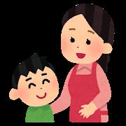 お母さんと会話する男の子のイラスト