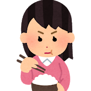 真剣にご飯を食べる女性のイラスト