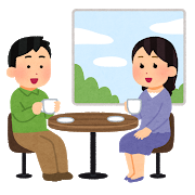 カフェでくつろぐカップルのイラスト