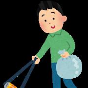 ゴミ拾いをする男性のイラスト
