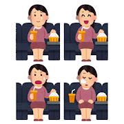 いろいろな表情の映画を観る女性のイラスト
